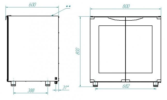 Схема расстоечного шкафа ШРТ-8Э с подставкой